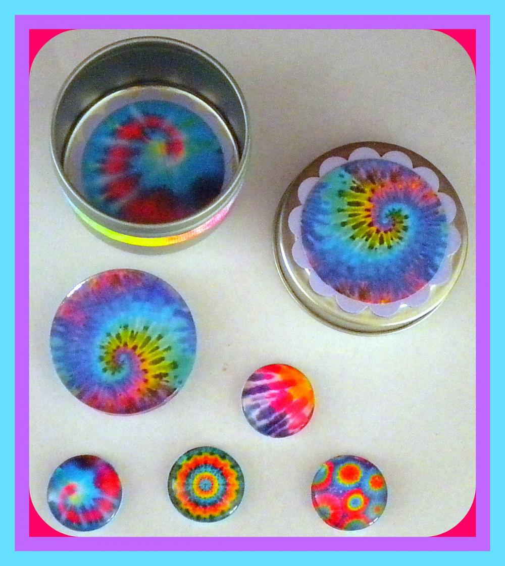 Magnets - Tie Dye Set 1 - Magnet Set in Gift Tin - 5 magnets