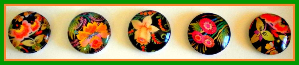 Magnets - Flowers - Magnet Set of 5 - 1 Inch Domed Glass Circles