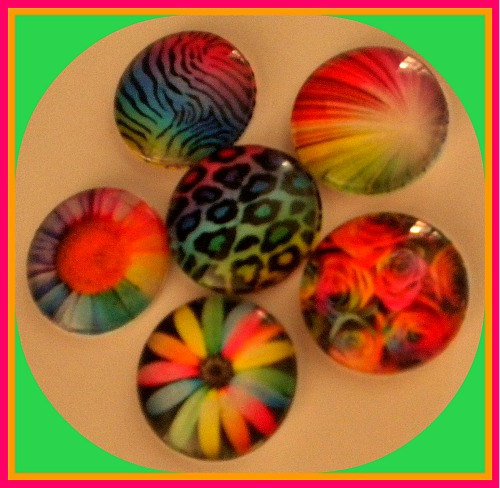 Magnets - Set of 6 - Neon Rainbow Designs - 1 Inch Domed Glass Circles - Stocking Stuffer