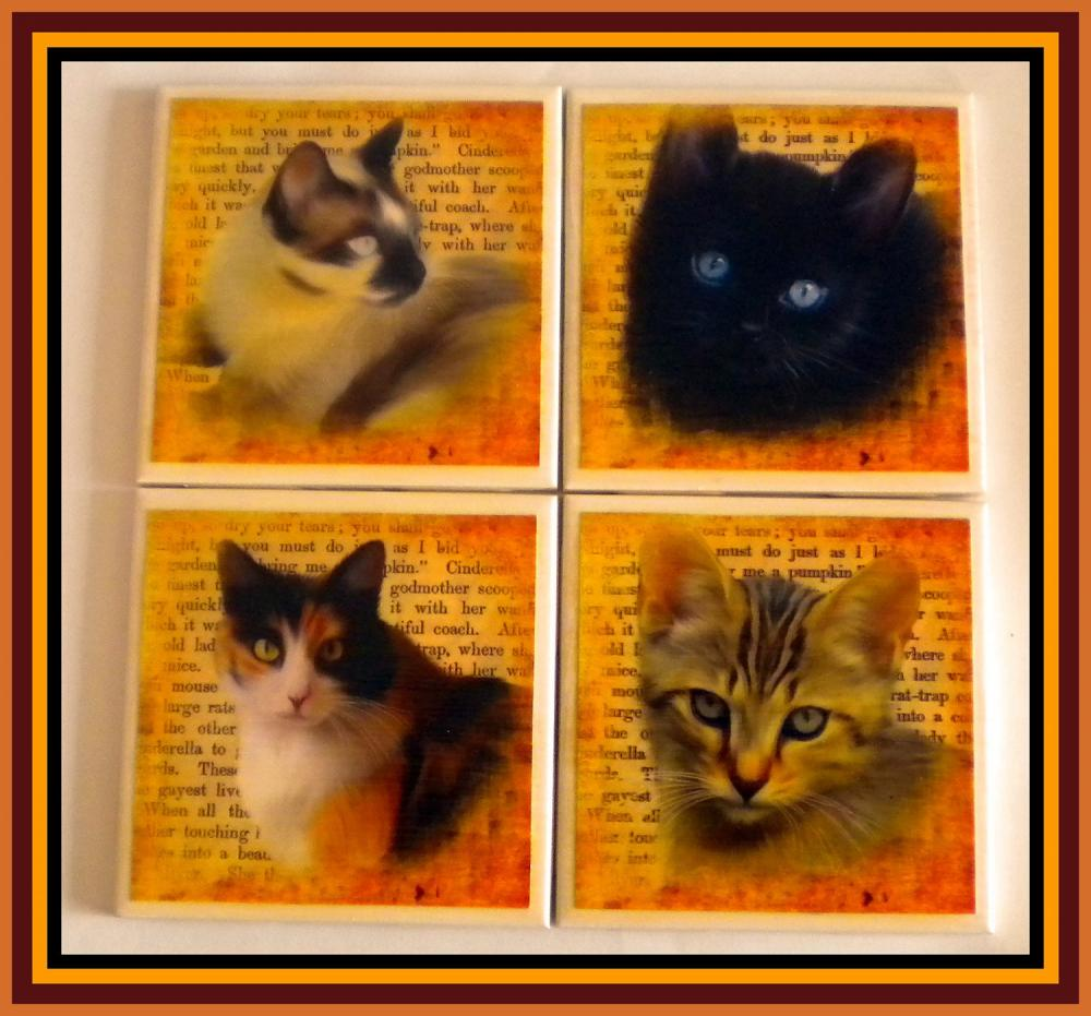 Coasters - Ceramic Tile - Set of 4 - Cats