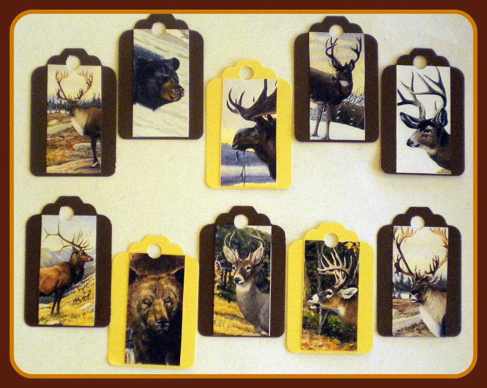 Tags - Wild Animals - 10 Gift Tags - Moose, Bear, Deer, Elk