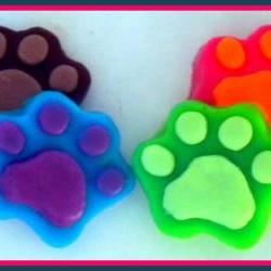 Soap - Paw Prints Goat Milk Soaps - 4 Soaps - Party Favors - You Choose Colors and Scent