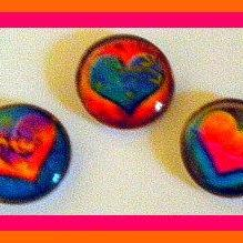 Magnets - Set of 3 - Hearts - 1 Inch Domed Glass Circles