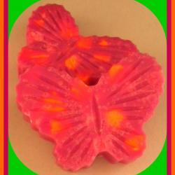 Soap - Butterfly Citrus Exfoliating Goat Milk Soap - Made with Dead Sea Salt - Pink Grapefruit and Sweet Orange Scented