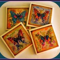 Coasters - Ceramic Tile - Set of 4 - Butterflies
