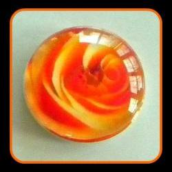Magnet - Orange Rose - Meaning &amp;quot;Desire&amp;quot; - 1 Inch Glass Circle - Valentine&#039;s Day