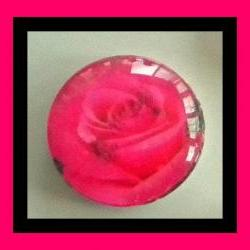 "Magnet - Hot Pink Rose - Meaning ""Thank You"" - 1 Inch Glass Circle - Valentine's Day"