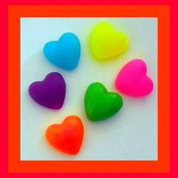 Soap - Puffy Hearts in Neon Colors - 12 Soaps - Valentine&#039;s Day, Weddings, Party Favors, Bridal Showers